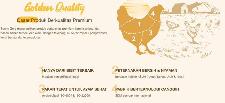 alasan SunnyGold memiliki rasa yang enak karena terbuat dari bahan berkualitas, bibit ayam terbaik