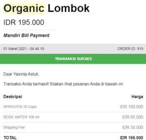 spirulina bisa ditemukan di organic lombok dan beli produknya di websitenya langsung